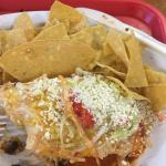 Carna asade burrito with rice and beans