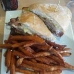 steak sandwich and sweet potatoes