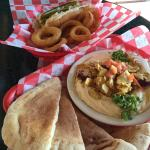 Hummus and chicken swarma (sp.). Chicago dog and onion rings