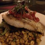 market fish with grilled sweet corn succotash, seasonal greens and salsa