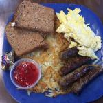 2 eggs, sausage, hashbrowns, and toast - JAM is awesome!