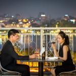 Romantic backdrop of the spectacular view, panoramic view of Hanoi City from May De Ville Old Qu