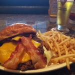Bacon Cheeseburger, fries and beer