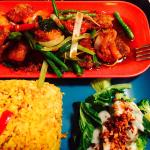 Trout with Broccoli & Kale King Prawns with tempura veg Garlic & Soy Mushrooms  Lush!