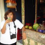 Me drinking juice at Thirsty Clams Kuta Bali