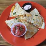 shrimp quesadilla with salsa on the side