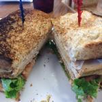 Turkey club on whole wheat toast