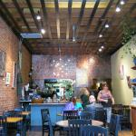 Pretty brick walls and changing local artwork complement fine food.