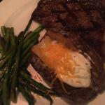 Mrs. Boyd's Ribeye, grilled asparagus, baked potato