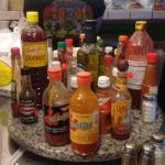 Plenty of hot sauce to choose from!!