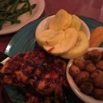 BBQ chicken, fried okra, yellow squash and local grown asparagus cooked perfectly.