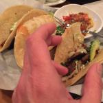 Tiny tacos; no lettuce, tomato, guac, sour cream or salsa included. And the Tiny Corn Cake behin