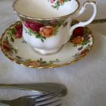 Dining off of Royal Doulton china. Casual elegance.