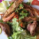 Salade de gambas et andouille de Guéméné.... Un délice