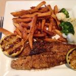 Pickerel with sweet potato fries, veggies and grilled lemon