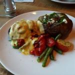 Sirloin Oscar with Veggies and loaded Baked Potato