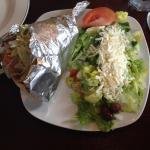 Chicken Souvlaki Gyro with Salad