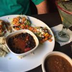 Vegetarian Flour tacos w/ Cheese, Margarita, Salsa