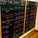 Colorful menu of COLD sammies!