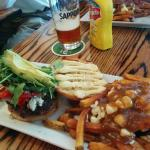 The Blues burger with a side of poutine