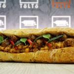 Rosemary Pork Sausage Bun (Street food, sausage,Wesselenyi, Budapest best hotdog, gourmet, tolto