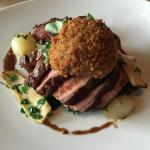 Beef rump with onions, mushrooms, spinach & kale, croquette. Yummy!