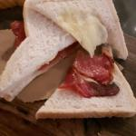 My £5 bacon sandwich - thin rashers of bacon on thin white bread.