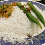 Nasi Kandar Meal served with stew vegetables in Malyasian Spices and two steamed Lady Fingers