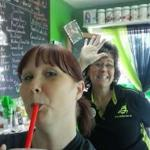 Drinking my shake and hanging out with the owner Lisa!