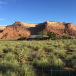 The B&B from the road, with Moki Dugway in the background.