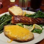 Prime Fillet Atlantic Salmon w/twice baked potato & green beans