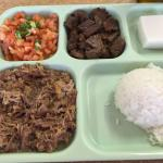 Kahlua pork with lomi lomi, pipikaula and haupia