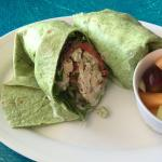 Chicken Salad Wrap with a fruit cup