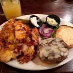 Logan's Irish Pub Mushroom and Swiss Burger with Loaded Waffle Fries