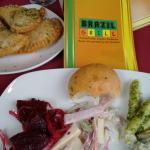 Salad bar...sugar beet salad, chicken salad, Ham Gruyere salad, Pesto Penne Salad and garlic rol