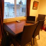 Wood and rattan dining table.