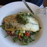Grilled barramundi with brown rice, quinoa, baby tomatoes, rocket and lots of other things.