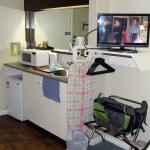 kitchenette and flat TV