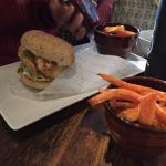 Fish finger sandwich and sweet potato fries