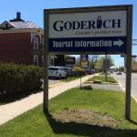 Goderich tourism information office sign.