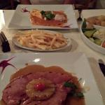 Gammon steak and pineapple, chips and selection of veg
