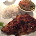 Oriental Chilean Sea Bass – Ginger – Sesame – Soy Glaze (sides of basmati rice and spinach maria