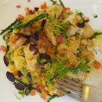 Monkfish served with Seafood paella