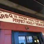 "Love this sign: BBQ ""from pigs that made perfect hogs of themselves"""