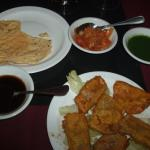 Paneer Pakora, with complementary appetizers