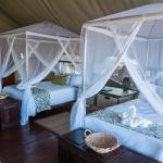 Twin beds in our tented lodge at Gorges