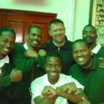 Eric Tinkler with some very excited Orlando Pirates supporters....