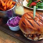 BBQ Pulled Pork Burger on Brioche Bun and Sweet Potato Chips