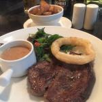 Steak, Onion Ring, Peppered Sauce & Garlic Potatoes