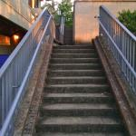 Stairs to back parking lot